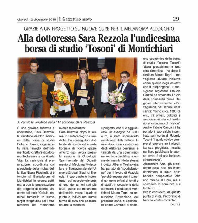 11^ Borsa di Studio Roberto Tosoni